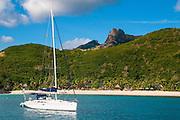 Sailing boat sialing before, Naviti island, Yasawas, Fiji, South Pacific