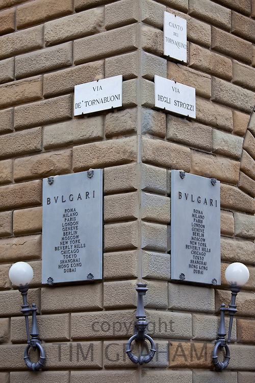 Bulgari jewellers sign on corner of Via de Tornabuoni and Via Degli Strozzi in Florence,Tuscany, Italy