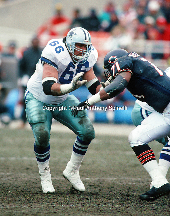 Dallas Cowboys guard Kevin Gogan (66) blocks Chicago Bears defensive tackle James Williams (71) during the NFL NFC Wild Card playoff football game against the Chicago Bears on Dec. 29, 1991 in Chicago. The Cowboys won the game 17-13. (©Paul Anthony Spinelli)