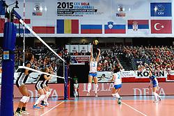 28-09-2015 NED: Volleyball European Championship Polen - Slovenie, Apeldoorn<br /> Polen wint met 3-0 van Slovenie / Mojca Bozic sets<br /> Photo by Ronald Hoogendoorn / Sportida