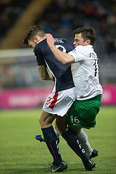 Falkirk's Kieran Duffie in on Hibernian's Lewis Stevenson.<br /> Falkirk 1 v 0 Hibernian, Scottish Championship game played 6/12/2014 at The Falkirk Stadium .