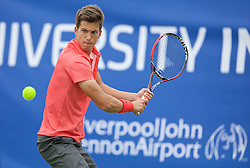 LIVERPOOL, ENGLAND - Thursday, June 18, 2015: Aljaz Bedene (GBR) during Day 2 of the Liverpool Hope University International Tennis Tournament at Liverpool Cricket Club. (Pic by David Rawcliffe/Propaganda)