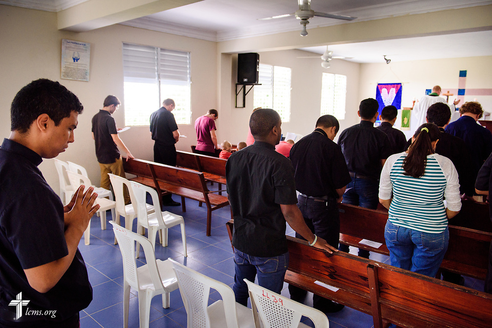 Seminarian Isaac Michado prays during chapel at Concordia Reformer Lutheran Seminary and Mercy Center in Palmar Arriba, Dominican Republic, on Wednesday, Oct. 18, 2017. LCMS Communications/Erik M. Lunsford