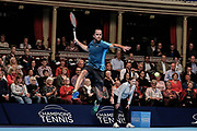Xavier Malisse jumps to hit a return ball during the Champions Tennis match at the Royal Albert Hall, London, United Kingdom on 6 December 2018. Picture by Ian Stephen.