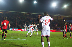 EXETER, ENGLAND - Friday, January 8, 2016: Liverpool's Brad Smith celebrates scoring the second equalising goal against Exeter City during the FA Cup 3rd Round match at St. James Park. (Pic by David Rawcliffe/Propaganda)