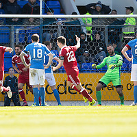 St Johnstone v Aberdeen…15.04.17     SPFL    McDiarmid Park<br />Adam Rooney and Ryan Jack celebrates as Tam Scobbie scores an own goal<br />Picture by Graeme Hart.<br />Copyright Perthshire Picture Agency<br />Tel: 01738 623350  Mobile: 07990 594431