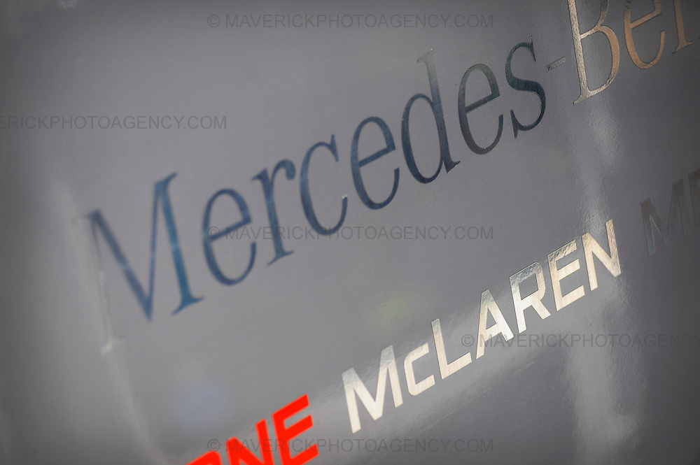 General View of a McLaren Mercedes Formula 1 team logo.