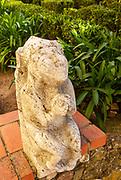Historic stone carved stonework figure in castle garden of the Pousada Castelo de Altivo, Alvito, Baixo Alentejo, Portugal, southern Europe