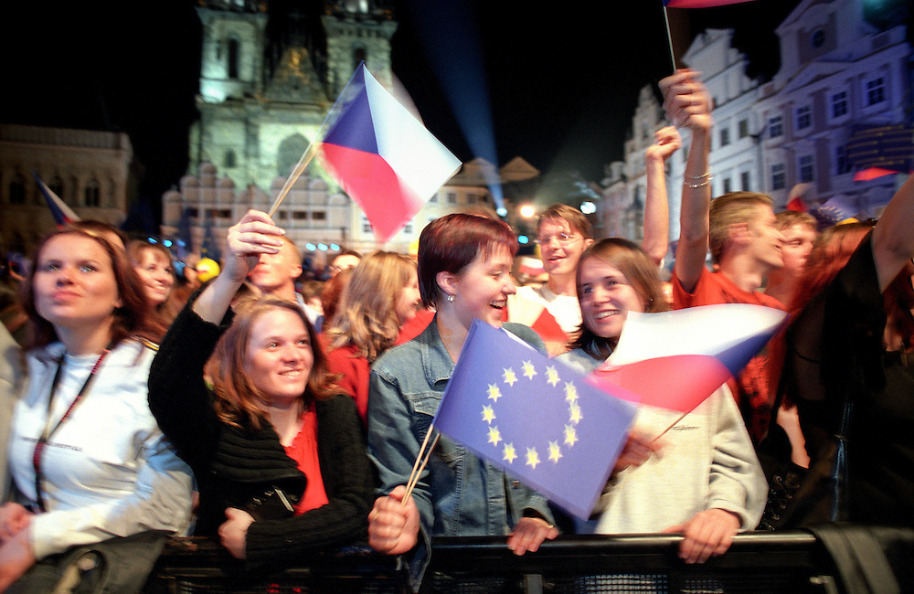 People celebrate the Czech Republic's accession into the European Union (EU) in the Old Town Square in the centre of Prague.