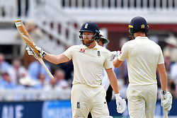 England's Jonny Bairstow celebrates scoring 50 not out during day three of the Specsavers Second Test match at Lord's, London.
