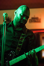 The G-MEN Soul Band at Meadow Farm.Rhythm Guitar - Uken Dixon.16 February 2013.Image © Paul David Drabble