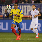 Luis Canga, Ecuador, in action during the USA Vs Ecuador International match at Rentschler Field, Hartford, Connecticut. USA. 10th October 2014. Photo Tim Clayton