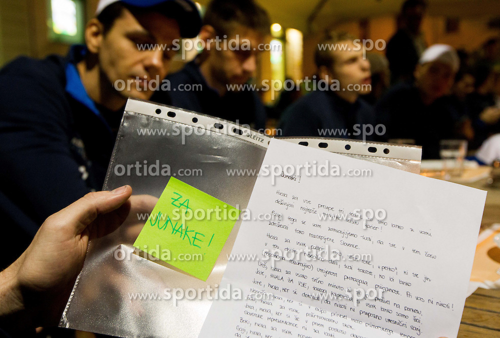 Letter of young fans Kaja, Tea and Zala for Heroes at dinner after the reception of Slovenia National basketball team after they placed 5th at Eurobasket 2013 on September 22, 2013 in Fan zone Kongresni trg, Ljubljana, Slovenia. (Photo by Vid Ponikvar / Sportida)