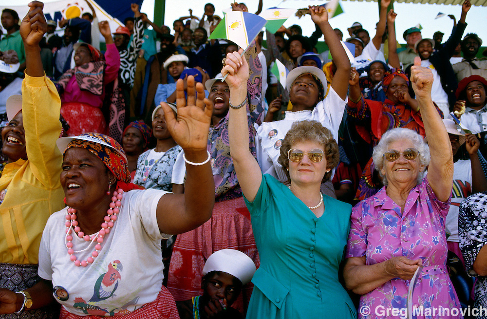 South Africans of various races and language groups gather to cheer President and National party leader FW de Klerk in the campaign for the first non-racial democratic elections in South Africa.   1994