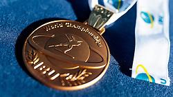 19.02.2017, Biathlonarena, Hochfilzen, AUT, IBU Weltmeisterschaften Biathlon, Hochfilzen 2017, Massenstart Herren, im Bild IBU Goldmedaille, Biathlet // IBU Gold Medal Biathlo Athlete during Winner Ceremony of the Mens Masstart of the IBU Biathlon World Championships at the Biathlonarena in Hochfilzen, Austria on 2017/02/19. EXPA Pictures © 2017, PhotoCredit: EXPA/ JFK