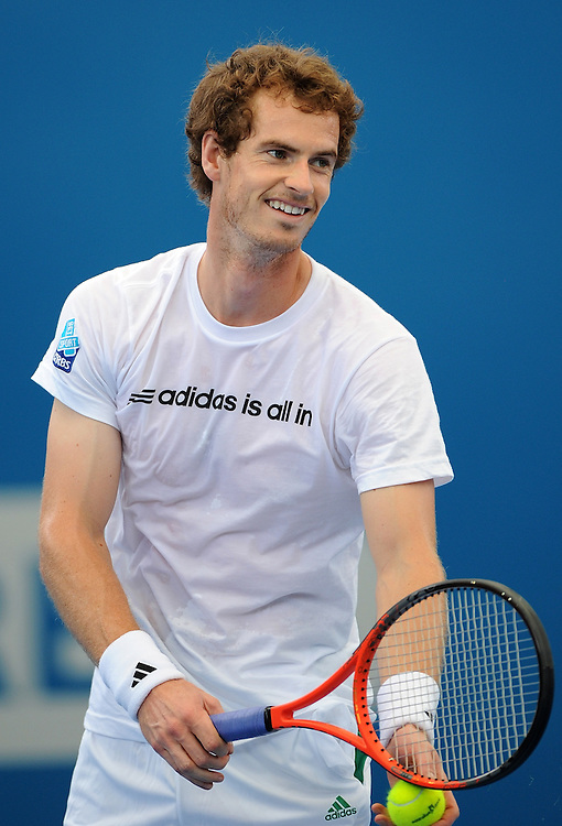 Brisbane, Australia, December 30: Andy Murray of Britain serves during a training session at Pat Rafter Arena ahead of the 2012 Brisbane International Tennis Tournament in Brisbane, Australia on Friday December 30th, 2011. (Photo: Matt Roberts/Photo News)