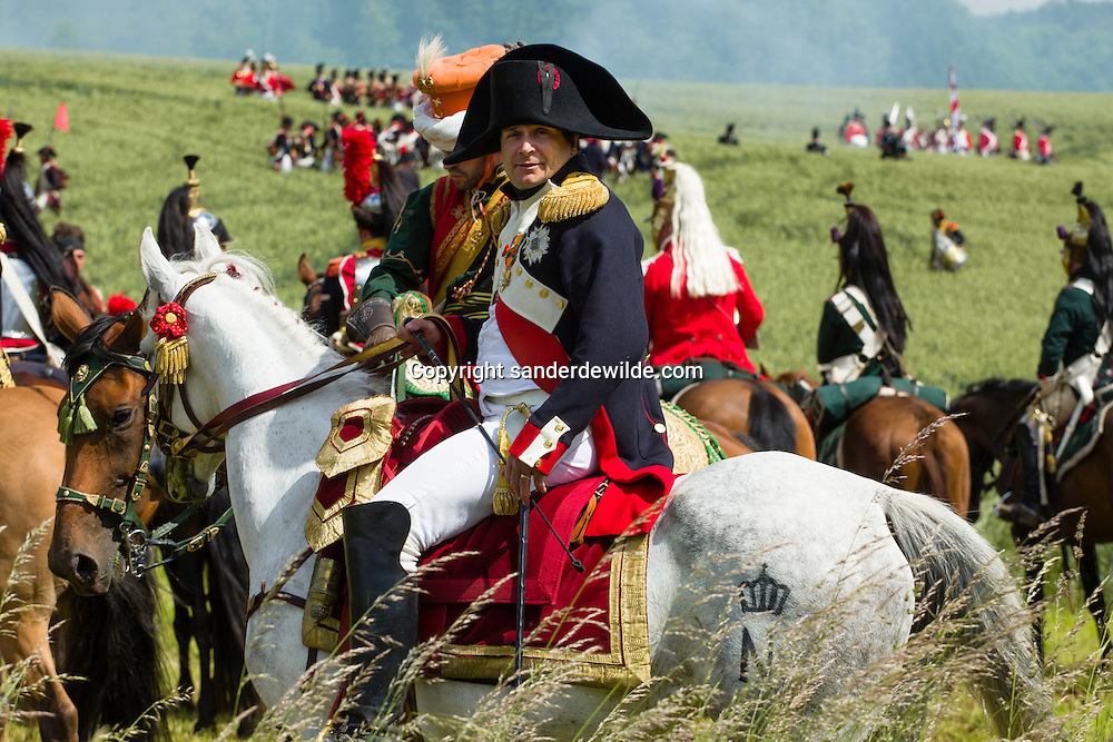 The Battle of Waterloo was re-enacted by a few hundred actors in the fields near Waterloo, where Napoleon Bonaparte and his French army were conquered almost 200 years ago, in 1815, by soldiers of England, Scotland, Prussia, and the Netherlands.Napoleon on a white horse.