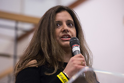 London, UK. 2nd March, 2019. Sabby Dhalu of Stand Up To Racism addresses the ¡No Pasaran! Confronting the Rise of the Far-Right conference at Bloomsbury Central.