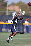 Dallas Cowboys rookie defensive back Rolan Milligan (43) leaps while catching a pass during the second day of the Dallas Cowboys 2016 NFL training camp football practice held on Sunday, July 31, 2016 in Oxnard, Calif. (©Paul Anthony Spinelli)