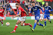 Bristol City defender, Nathan Baker (17) on the ball during the Sky Bet Championship match between Bristol City and Cardiff City at Ashton Gate, Bristol, England on 5 March 2016. Photo by Shane Healey.