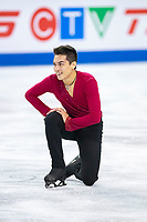 KELOWNA, BC - OCTOBER 25: American figure skater Camden Pulkinen competes in the men's short program at Skate Canada International held at Prospera Place on October 25, 2019 in Kelowna, Canada. (Photo by Marissa Baecker/Shoot the Breeze)