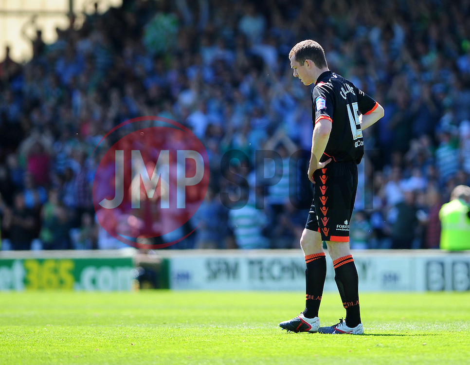 Sheffield United's Neil Collins looks disappointed as Yeovil Town's Kevin Dawson scores - Photo mandatory by-line: Dougie Allward/JMP - Tel: Mobile: 07966 386802 03/05/2013 - SPORT - FOOTBALL - Bramall Lane - Sheffield - Sheffield United V Yeovil Town - NPOWER LEAGUE ONE PLAY-OFF SEMI-FINAL FIRST LEG