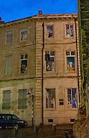 Facade of a trompe l'oeil building in Avignon, France.
