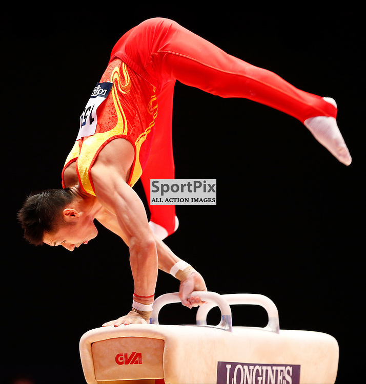 2015 Artistic Gymnastics World Championships being held in Glasgow from 23rd October to 1st November 2015.....Chenglong Zhang (Peoples Republic of China) competing in the Pommel Horse competition..(c) STEPHEN LAWSON | SportPix.org.uk