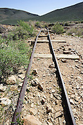 Abandoned railroad tracks near Emigrant Pass in Death Valley National Park