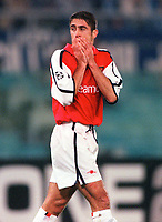 Silvinho in dispair after as missed oppertunity. S.S.Lazio 1:1 Arsenal, UEFA Champions League, Group B, Olympic Stadium, Rome, 17/10/2000. Credit Colorsport / Stuart MacFarlane.