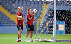 ASTANA, KAZAKHSTAN - Friday, September 15, 2017: Wales' captain Sophie Ingle and Angharad James training at the Astana Arena ahead of the FIFA Women's World Cup 2019 Qualifying Round Group 1 match against Kazakhstan. (Pic by David Rawcliffe/Propaganda)