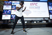 LAS VEGAS, NV - JULY 6:  Uriah Hall performs during the UFC Lip Sync Challenge in Lagasse's Stadium at The Palazzo Las Vegas on July 6, 2016 in Las Vegas, Nevada. (Photo by Cooper Neill/Zuffa LLC/Zuffa LLC via Getty Images) *** Local Caption *** Uriah Hall
