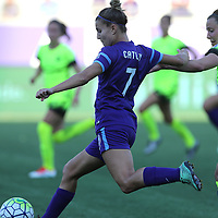 Orlando Pride defender Stephanie Catley (7) kicks the ball during a NWSL soccer match at Camping World Stadium on May 8, 2016 in Orlando, Florida. (Alex Menendez via AP)