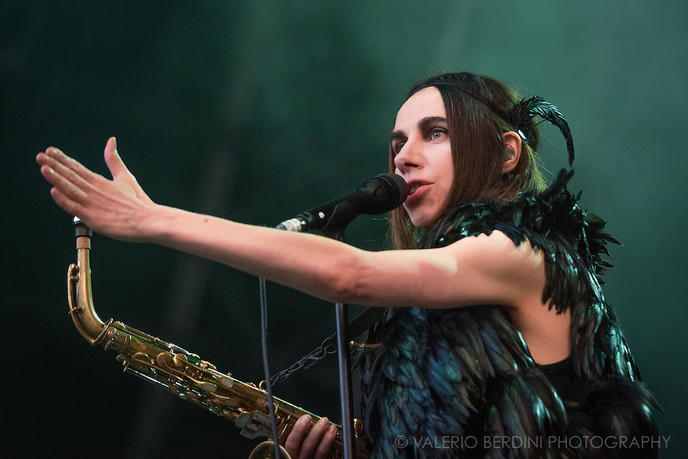 PJ Harvey Headlining Field Day Festival in London on Sunday, 12 June 2016.<br /> <br /> This photo was published on the Daily Telegraph on 13 June 2016<br /> http://www.telegraph.co.uk/music/what-to-listen-to/pj-harvey-field-day-review/