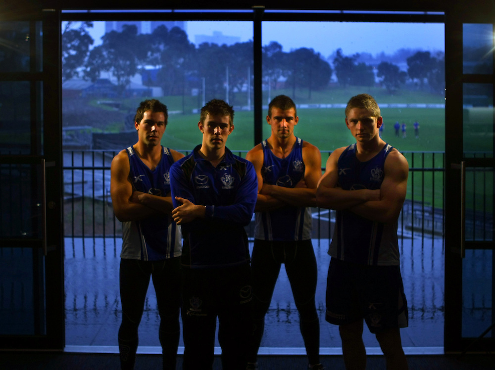 North Melbourne s young midfielders, left to right, Levi Greenwood, Ryan Bastinac, Ben Cunnington, Jack Ziebell   - Pic By Craig Sillitoe 17/06/2010 SPECIAL 000  Pic By Craig Sillitoe CSZ / The Sunday Age melbourne photographers, commercial photographers, industrial photographers, corporate photographer, architectural photographers, This photograph can be used for non commercial uses with attribution. Credit: Craig Sillitoe Photography / http://www.csillitoe.com<br />