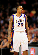 Jan. 2, 2012; Phoenix, AZ, USA; Phoenix Suns guard Shannon Brown (26) reacts on the court against the Golden State Warriors at the US Airways Center. The Suns defeated the Warriors 102-91. Mandatory Credit: Jennifer Stewart-US PRESSWIRE..