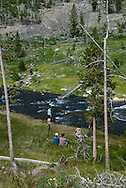 Tourists, Firehole River, Yellowstone National Park
