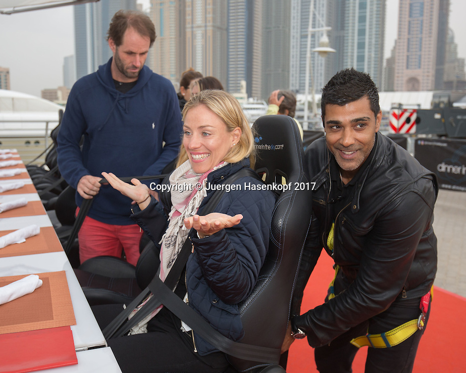 ANGELIQUE KERBER wird angeschnallt, DINNER IN THE SKY UAE<br /> <br /> Tennis - Dubai Tennis Championships 2017 -  WTA -  Dubai Duty Free Tennis Stadium - Dubai  -  - United Arab Emirates  - 20 February 2017.