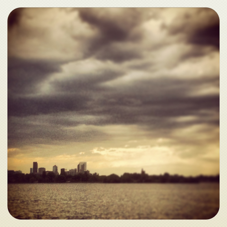 View of Denver skyline from across Sloan's Lake