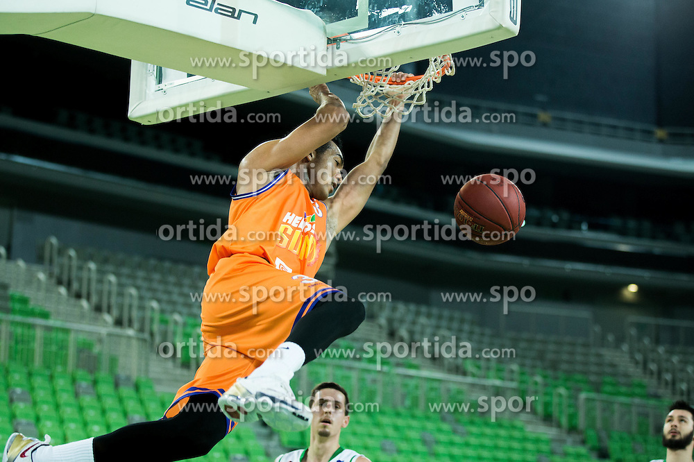 Marcel Xavier Jones #3 of Helios Suns during basketball match between KK Union Olimpija Ljubljana and KK Helios Suns in Round #15 of Liga NovaKBM 2016/17, on February 8, 2017 in Arena Stozice, Ljubljana, Slovenia. Photo by Vid Ponikvar / Sportida