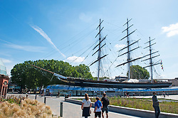 ©Licensed to London News Pictures 22/07/2020     <br /> Greenwich, UK. Blue sky above the Cutty Sark in Greenwich, London. Warm hot sunny weather in the UK today. Photo credit: Grant Falvey/LNP