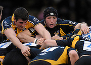 Wycombe, GREAT BRITAIN, left, Leeds, John DUNBAR and Wasps George SKIINGTON, wrestle to get the ball, During the Guinness Premiership Game, London Wasps vs Leeds Carnegie, at Adams Park. 05/01/2008  [Mandatory credit Peter Spurrier/ Intersport Images].