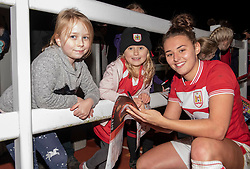 Ella Rutherford of Bristol City poses with some young supporters - Mandatory by-line: Paul Knight/JMP - 17/11/2018 - FOOTBALL - Stoke Gifford Stadium - Bristol, England - Bristol City Women v Liverpool Women - FA Women's Super League 1