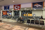 Apr 24, 2019; Nashville, TN, USA; General overall view of Los Angeles Rams, Kansas City Chiefs and Denver Broncos flags at the Concourse C of the Nashville International Airport (BNA) prior to the 2019 NFL Draft.
