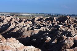 Aerial view of badland rock formations, Badlands National Park, South Dakota, United States of America