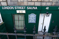 Exterior of London Street Sauna in Edinburgh, Scotland, UK. Sauna is a term that can be applied to premises offering sexual services.