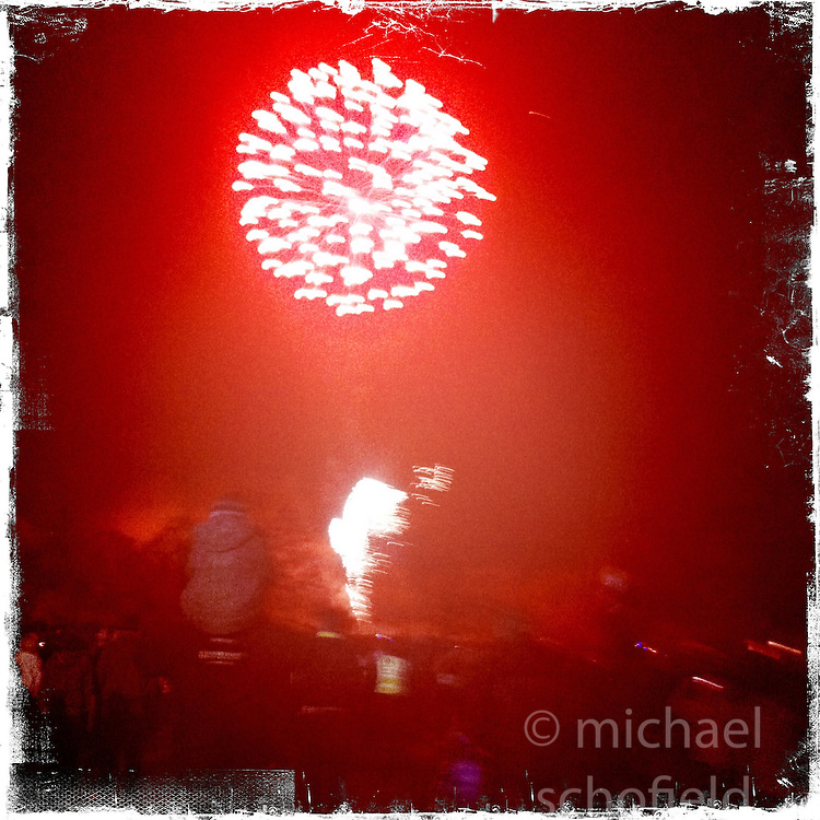 Fireworks in Falkirk..Hipstamatic images taken on an Apple iPhone..©Michael Schofield.