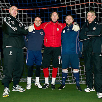 Brechin City manager Jim Weir (right) pictured with the other members of Brechin who have St Johnstone connections, from left, Kevin McGowne (aast manager) Charlie King, Craig Nelson and Neil Janczyk<br /> see story by Gordon Bannerman Tel: 07729 865788<br /> Picture by Graeme Hart.<br /> Copyright Perthshire Picture Agency<br /> Tel: 01738 623350  Mobile: 07990 594431