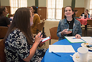 Eleanor Bishop talks with her mentor during the Women's Mentoring Meet and Greet event on Sept. 4, 2018 in Walter Rotunda. Photo by Hannah Ruhoff