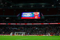 The scoreboard shows the record attendance for an England Women's home game of 45,619 - Photo mandatory by-line: Rogan Thomson/JMP - 07966 386802 - 23/11/2014 - SPORT - WOMEN'S FOOTBALL - Wembley Stadium - England v Germany - Breast Cancer Care International Friendly Match.